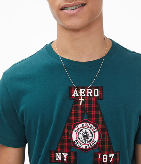 Plaid Letter Graphic Tee