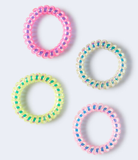 Neon Coil Ponytail Holder 4-Pack