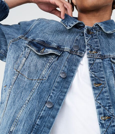 Medium Wash Stretch Denim Trucker Jacket