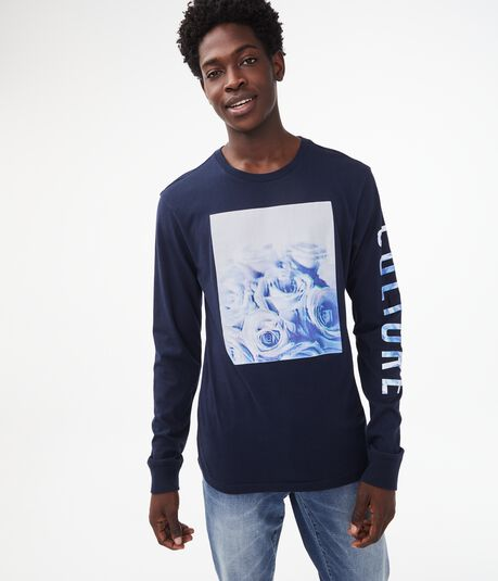 Long Sleeve Faded Roses Graphic Tee