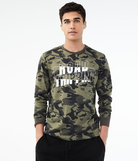 Long Sleeve Road Trippin' Camo Graphic Tee