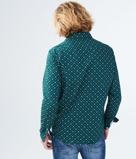 Long Sleeve Geometric Woven Shirt