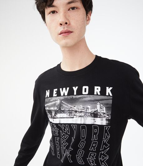 Long Sleeve Stacked New York Graphic Tee