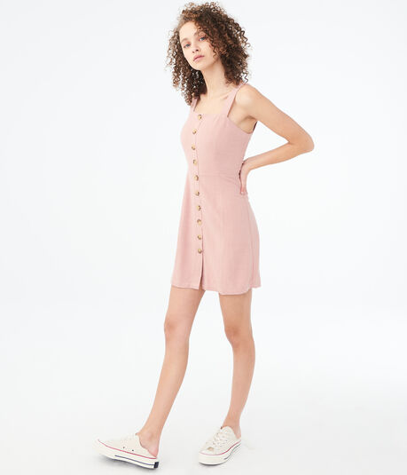 Solid Square-Neck Button-Front A-Line Dress