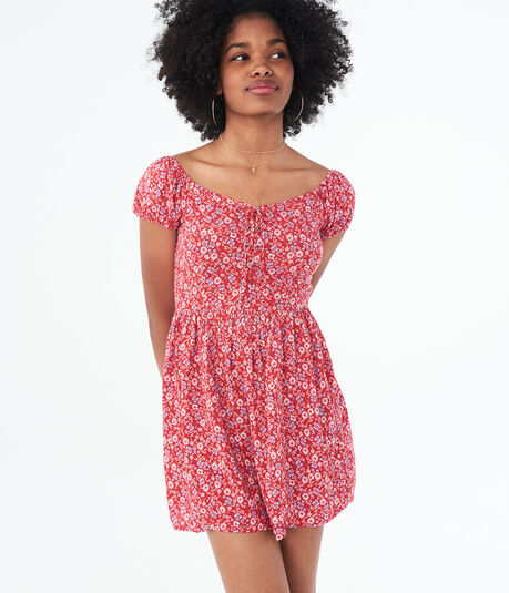 Floral Lace-Up Fit & Flare Dress