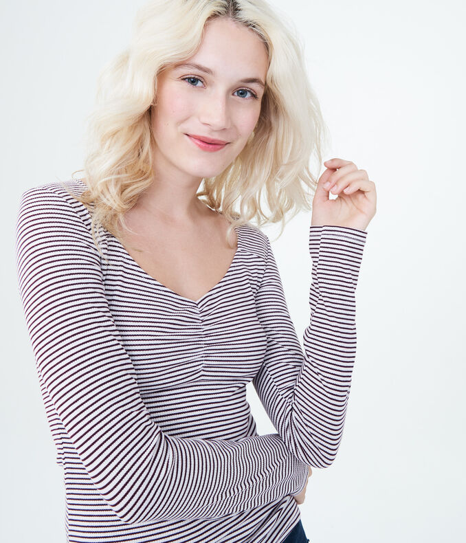 Long Sleeve Striped Sweetheart Bodycon Top