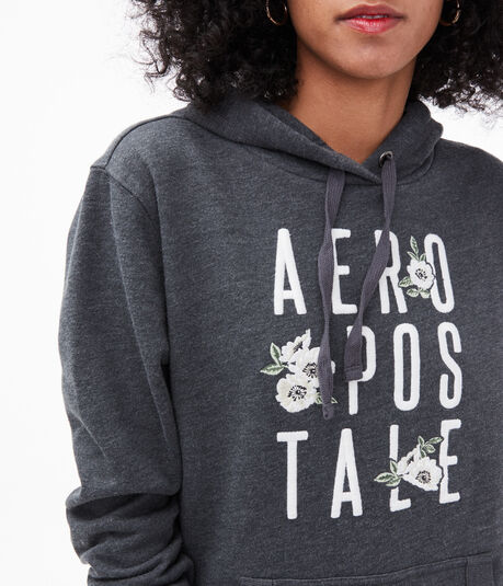 Floral Stacked Logo Pullover Hoodie