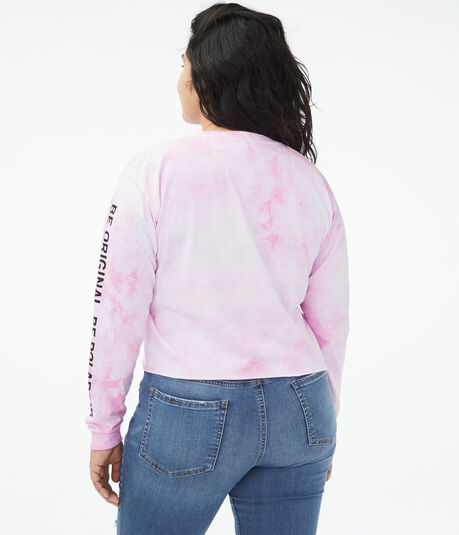 Long Sleeve Polaroid Tie-Dye Cropped Graphic Tee
