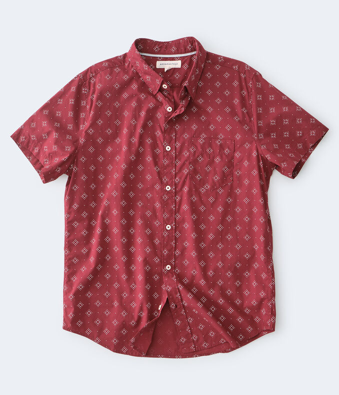 Geometric Diamond-Print Button-Down Shirt