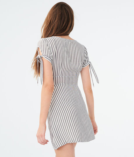 Striped V-Neck Button-Front Shirt Dress