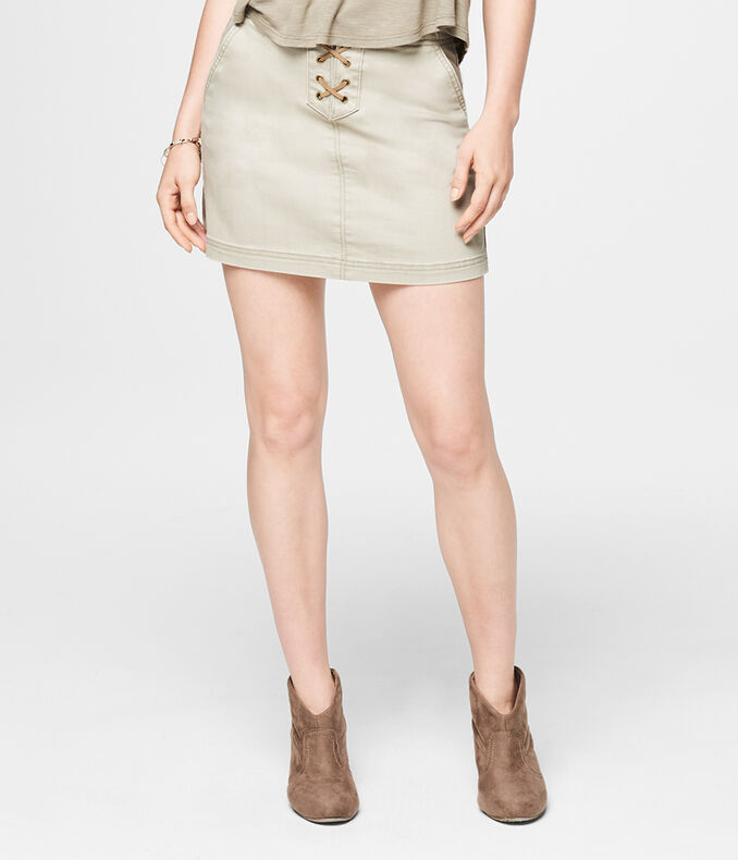 Tan Lace-Up A-Line Skirt