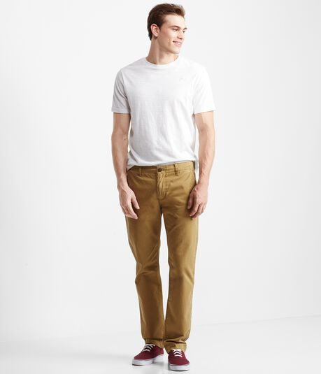 Solid Slim Straight Flat-Front Chinos
