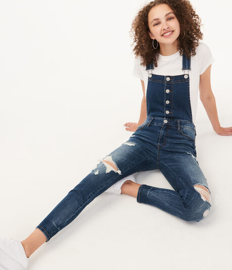 Skinny Dark Wash Ankle Denim Overalls