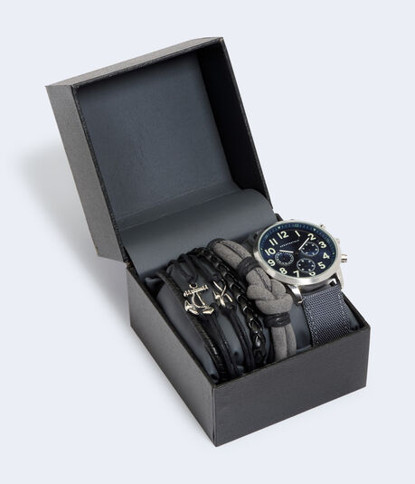 Large Face Canvas Watch & Bracelet Set