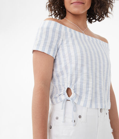 Striped Tie Keyhole Off-The-Shoulder Top