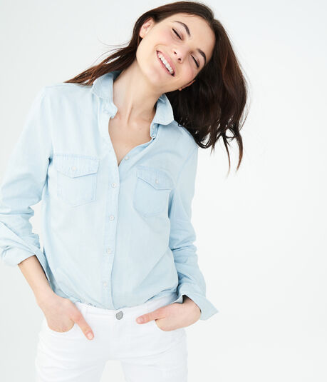 Long Sleeve Light Chambray Button-Down Shirt