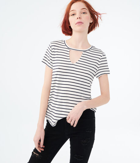 Striped Neckline Cutout Tee***