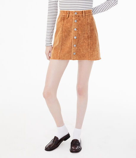 High-Rise Button-Front Corduroy Skirt