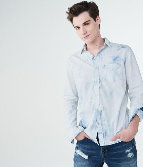 Aero One Long Sleeve Bleached Chambray Woven Shirt