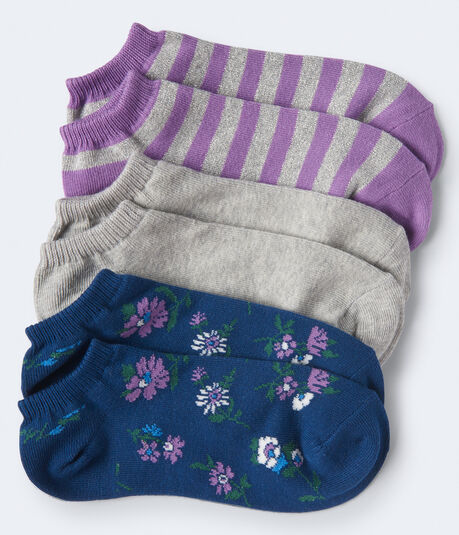 3-Pack Floral, Stripe & Solid Ankle Socks