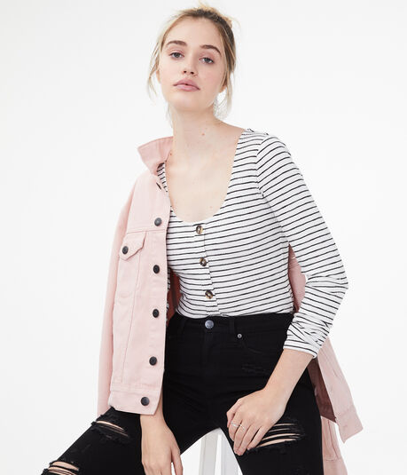 Long Sleeve Seriously Soft Striped Button-Front Top