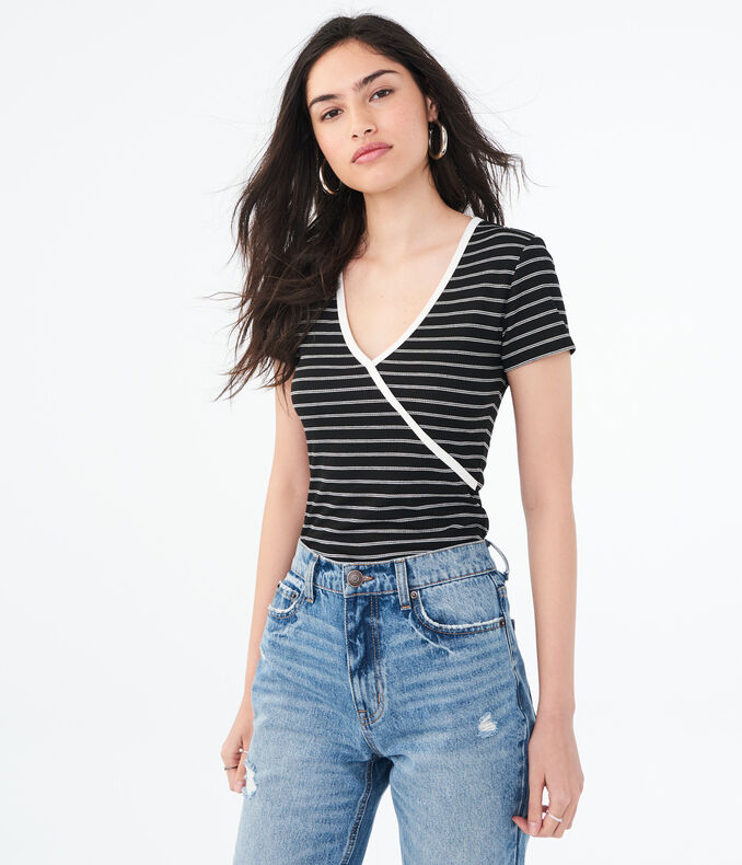 Striped Faux Wrap Tee***
