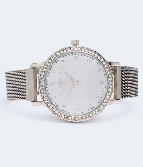 Rhinestone Metal Mesh Analog Watch