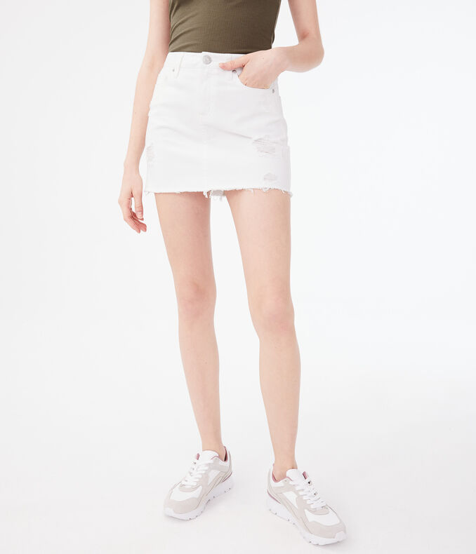 Low-Rise Denim Mini Skirt