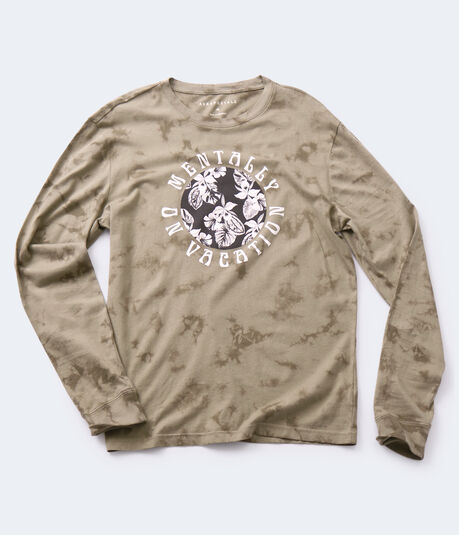 Long Sleeve Mentally On Vacation Tie-Dye Graphic Tee