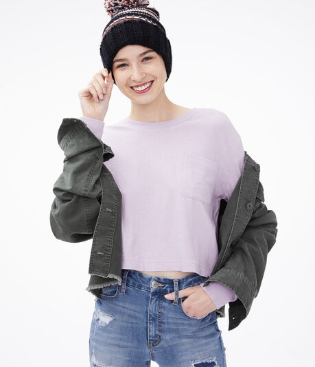 Long Sleeve Boxy Cropped Pocket Tee