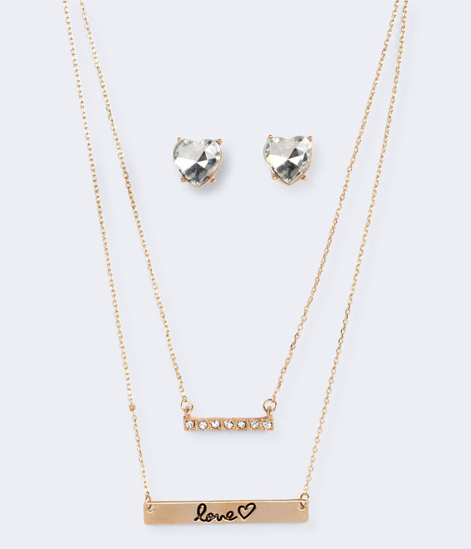 Rhinestone Stud Earring & Short-Strand Bar Necklaces Set