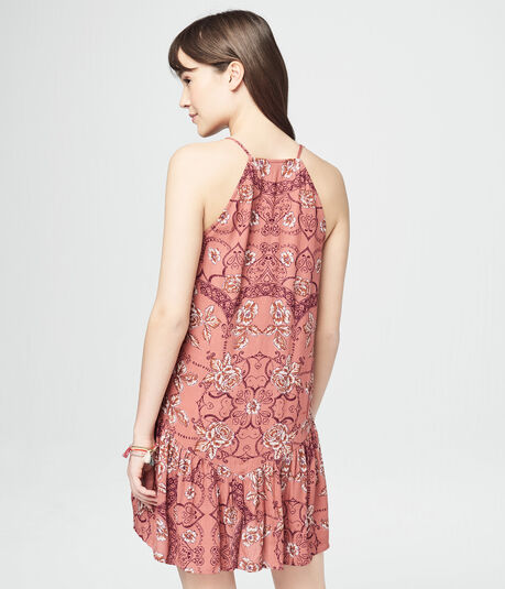 Floral High-Neck Tassel-Tie Shift Dress