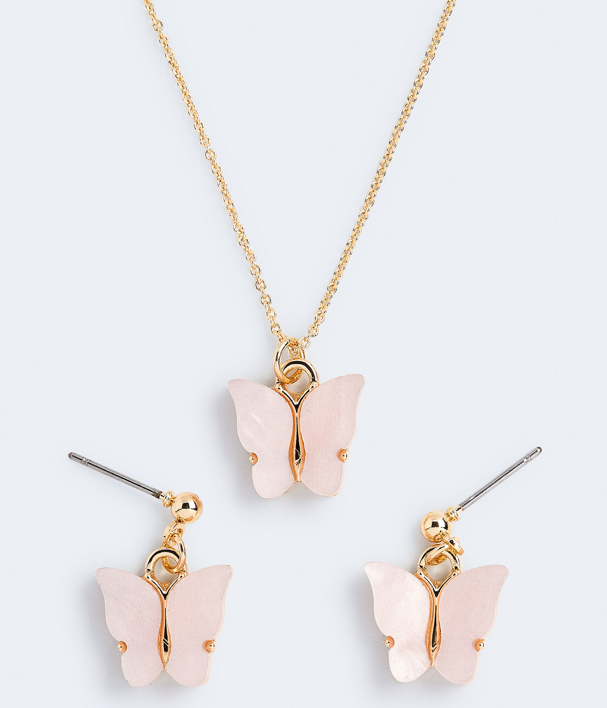 Butterfly necklace and earring set