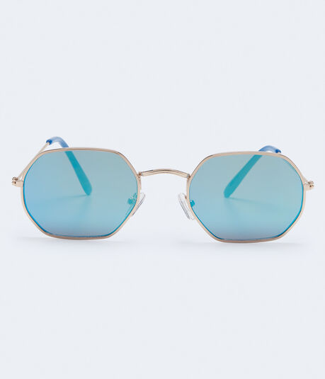 Slim Geometric Mirrored Sunglasses
