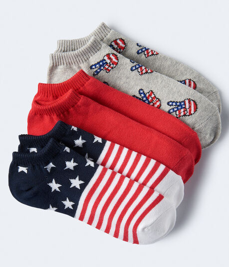 3-Pack Peace Sign, Flag & Solid Ankle Socks