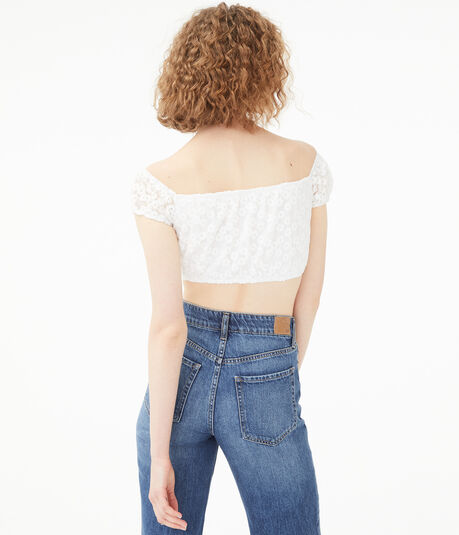 Lace-Up Daisy Mesh Crop Top