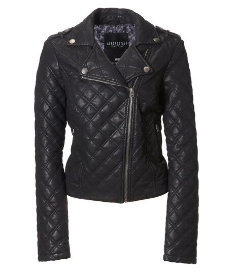 Quilted Faux Leather Moto Jacket Aeropostale
