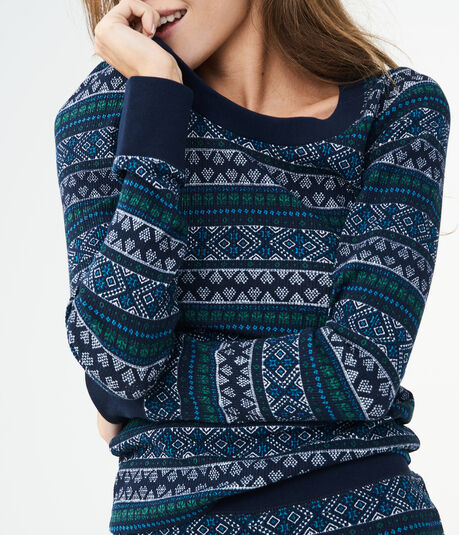 Long Sleeve Fair Isle Crew Top