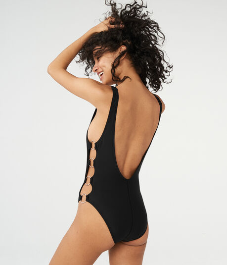 LLD Solid Side-Ring One-Piece Swimsuit