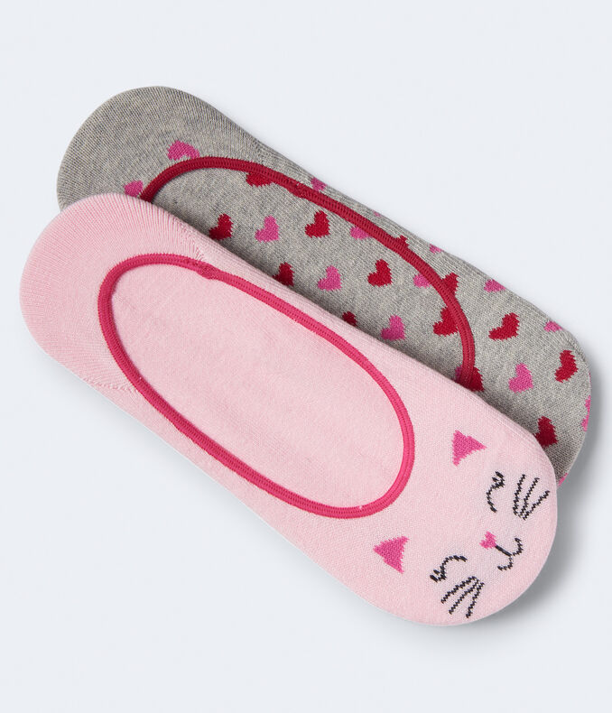 2-Pack Cat & Heart No-Show Socks***