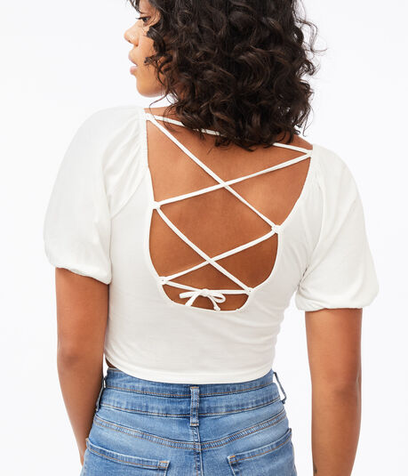 Strappy-Back Puff-Sleeve Crop Top