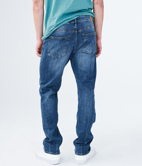 Straight Medium Wash Destroyed Stretch Jean