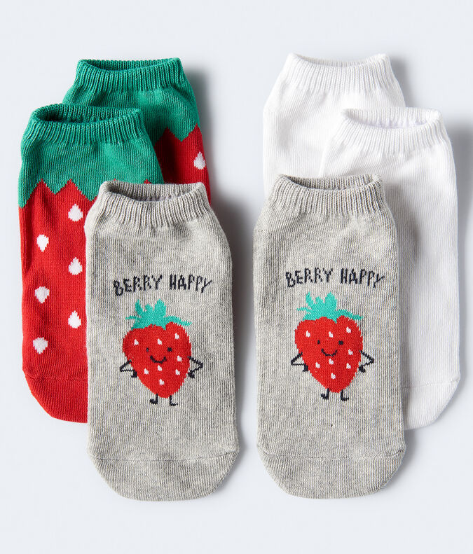 3-Pack Strawberry & Solid Ankle Socks
