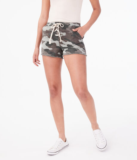 Camo Lace-Up Utility Shorts