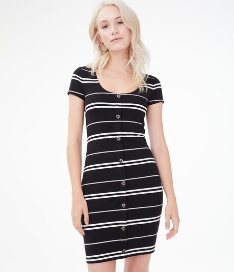 Striped Button-Front Bodycon Dress
