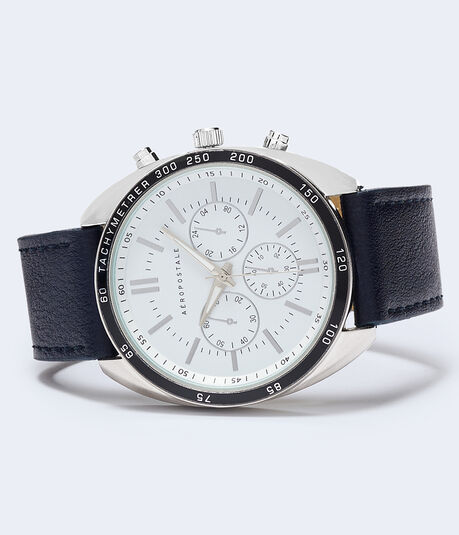 Large Face Faux Leather Watch