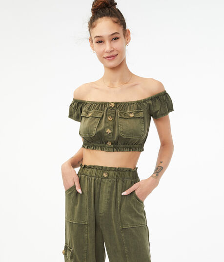 Buttoned Off-The-Shoulder Crop Top
