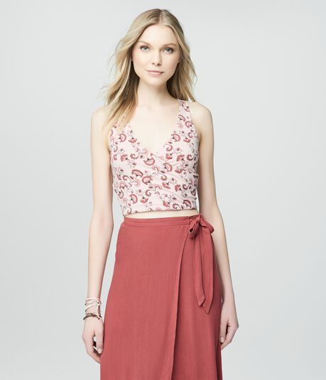Cape Juby Floral Cropped Bodycon Wrap Tank