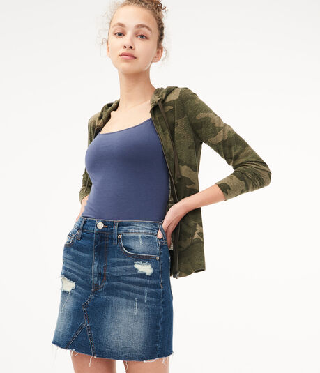 Real Denim High-Rise Destroyed Mini Skirt