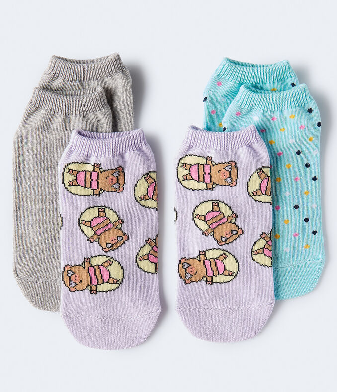 Sunbathing Pig Ankle Sock 3-Pack